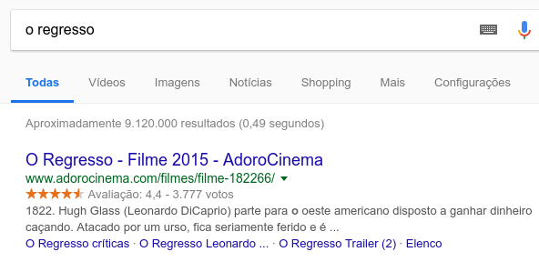 example of markup schema with search results in the film return