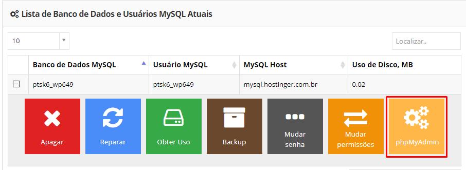 phpmyadmin dentro do banco de dados mysql para mudar url wordpress