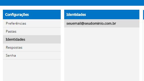 acessando a conta de email no campo Identidades