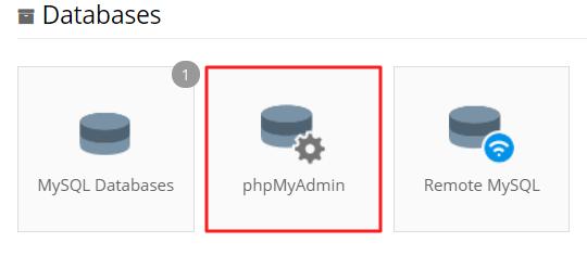 acessar o phpmyadmin pela seção banco de dados no cpanel