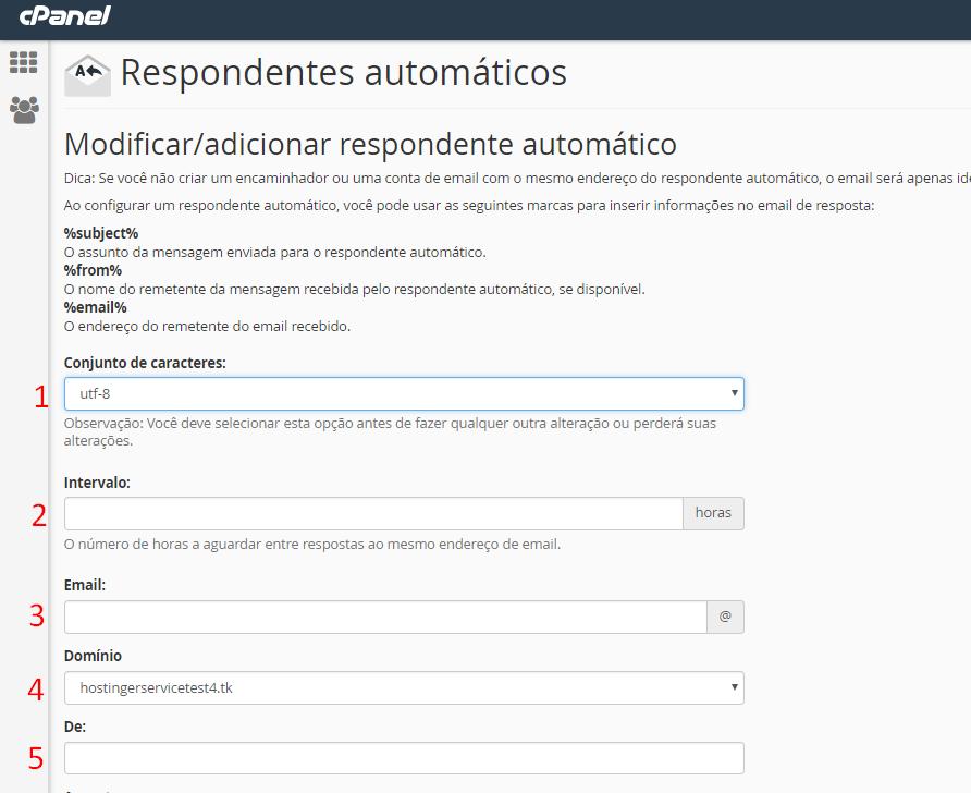 opções de preenchimento no cpanel para criar resposta automática de recebimento de email