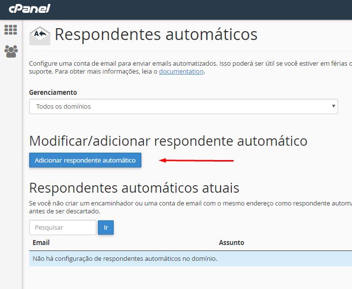botão de adicionar respondente automático para criar uma resposta automática de recebimento de email