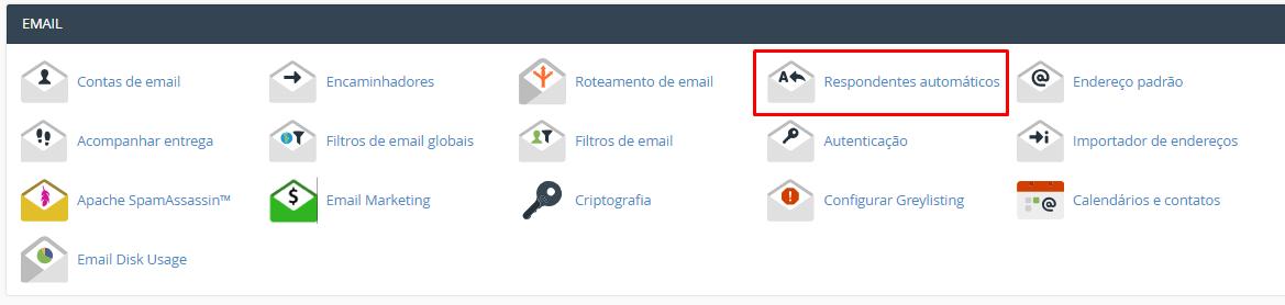 seção de email no cpanel para criar uma resposta automática de recebimento de email