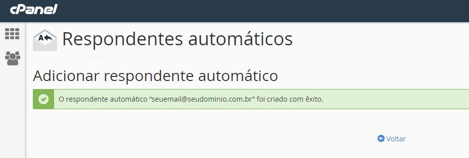 mensagem de confirmação de criação do respondente automático para criar resposta automática de recebimento de email