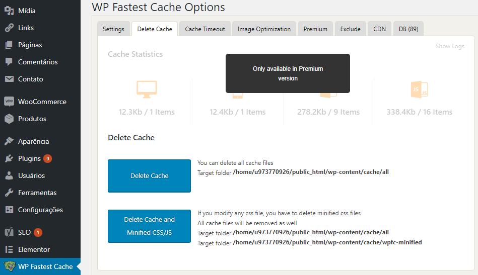 plugin wp fastest cache para limpar cache