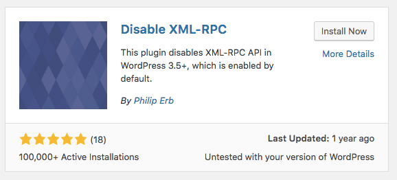 instalando o plugin disable xml-rpc