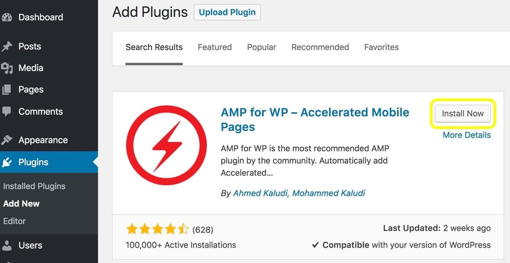 installing the plugin for wordpress amp