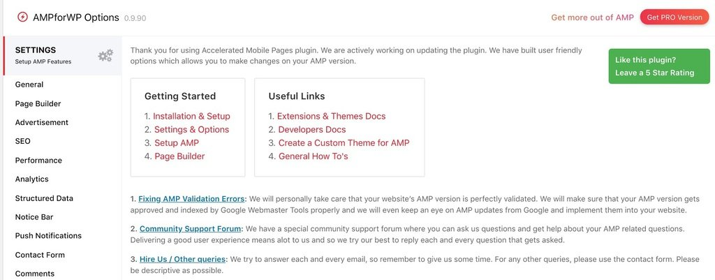 setting the plugin for wordpress amp