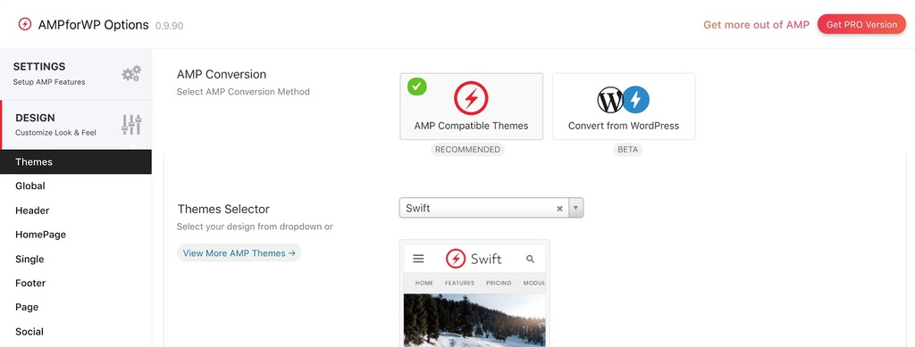 configurando o design do plugin amp for wp