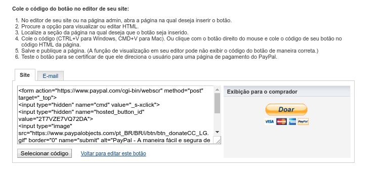 copiando o código do botão do paypal