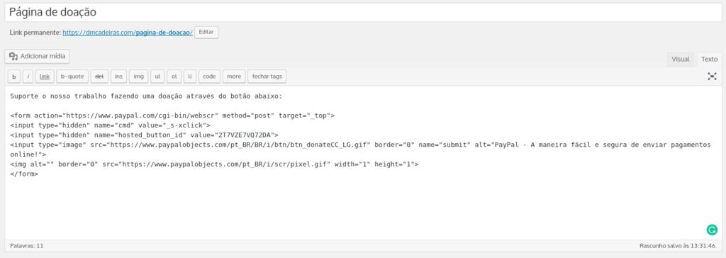 colando o código do botão do paypal no site
