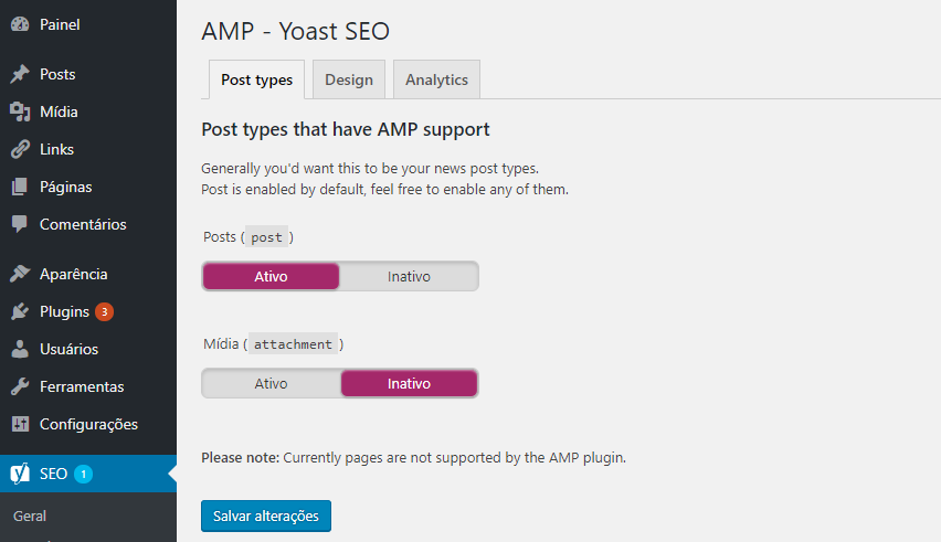 setting the AMP and Yoast SEO plugins