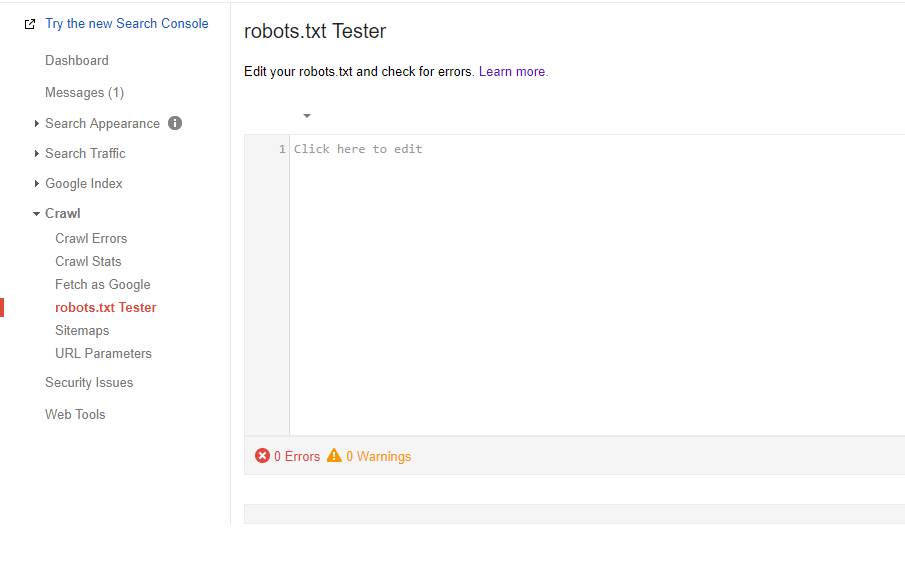 aba robots.txt tester no google search console