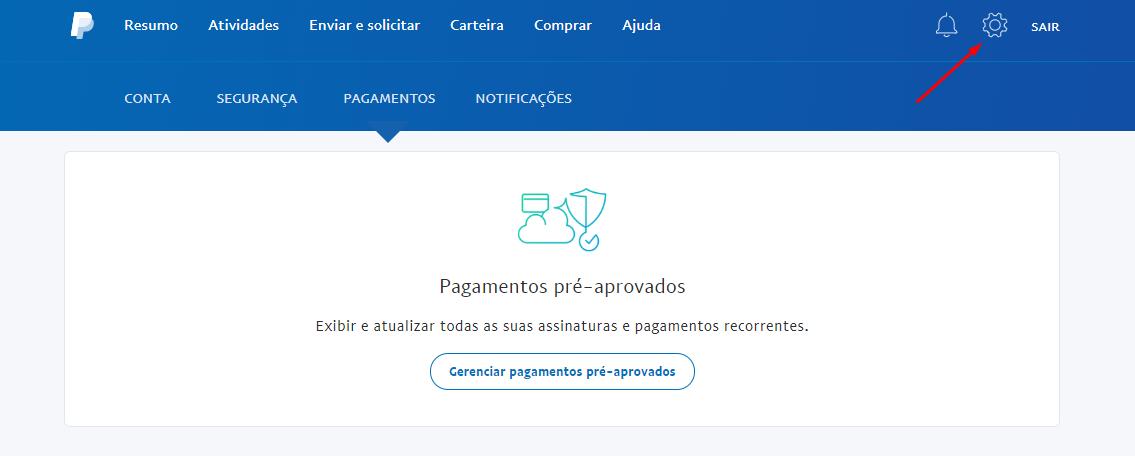 acessar configurações no paypal