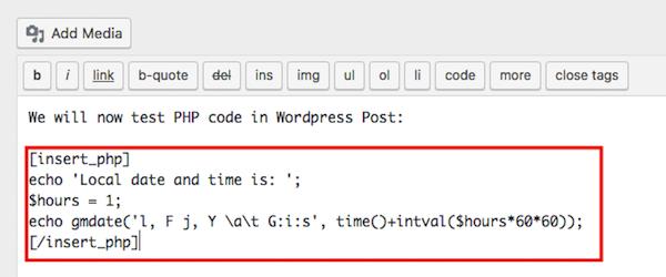 Adicionando código php shortcode