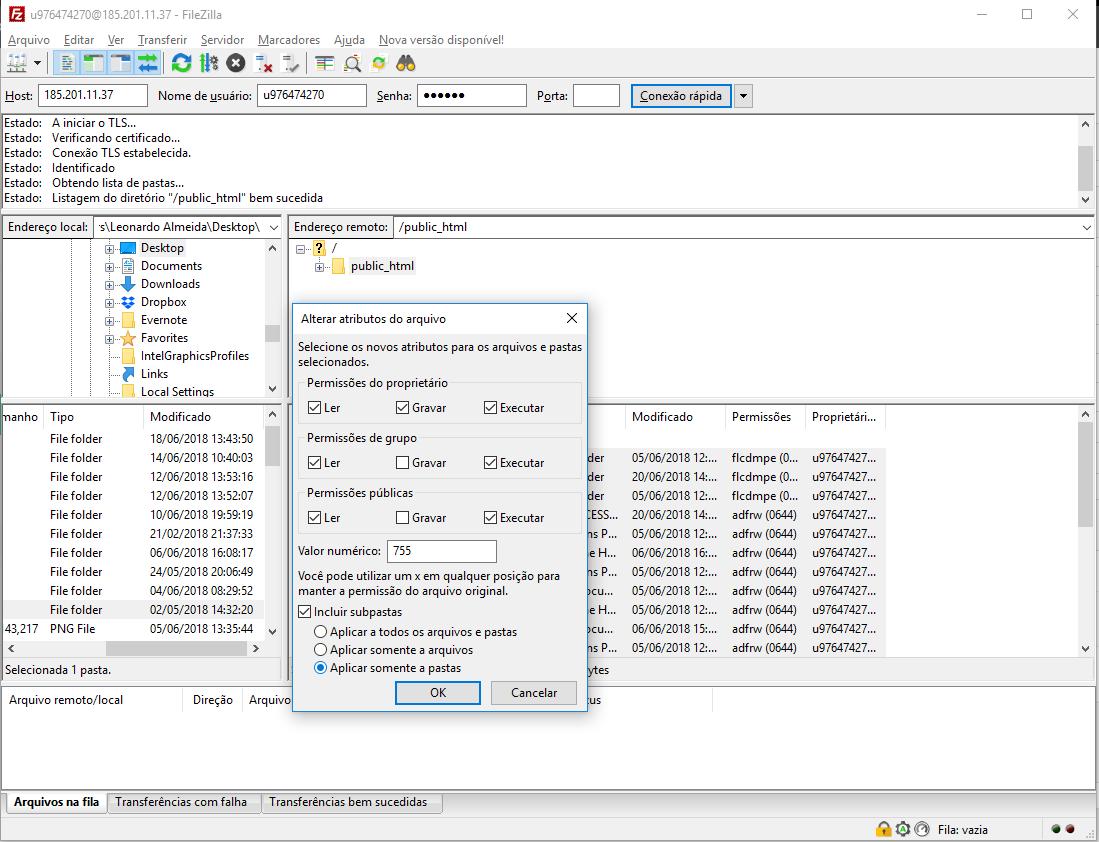 alterando atributos e permissões de arquivo pelo cliente ftp