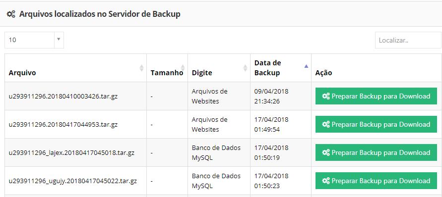 arquivos localizados no servidor de backup no banco de dados mysql