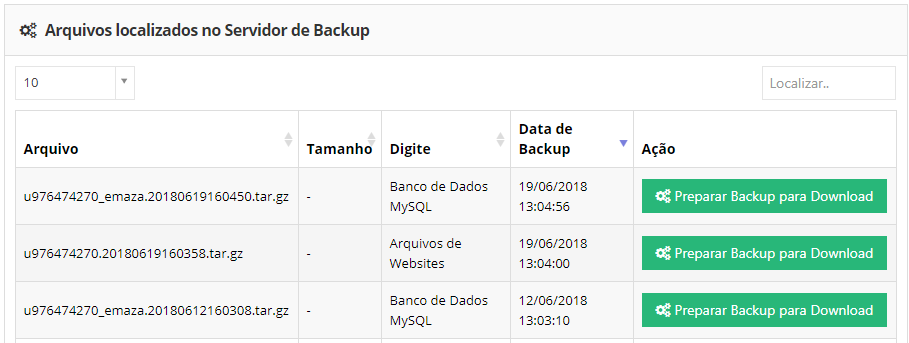 arquivos localizados no servidor de backup no wordpress
