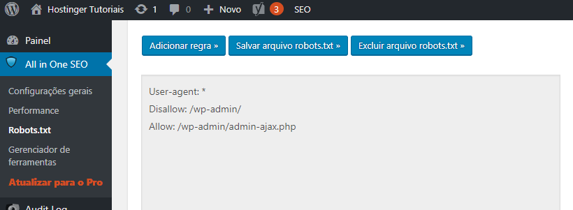 edição do arquivo robots.txt no plugin all in one seo pack