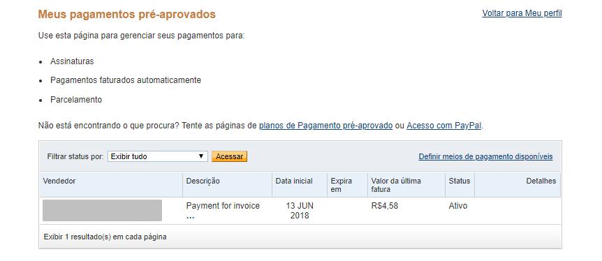 cancelando a assinatura de pagamentos pré aprovados no paypal