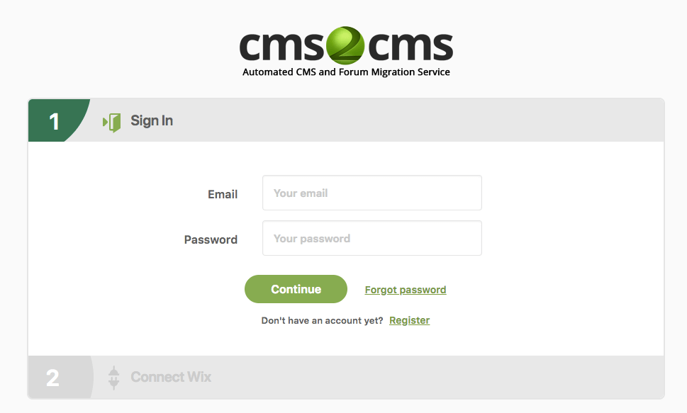 Creating account CMS2CMS plugin