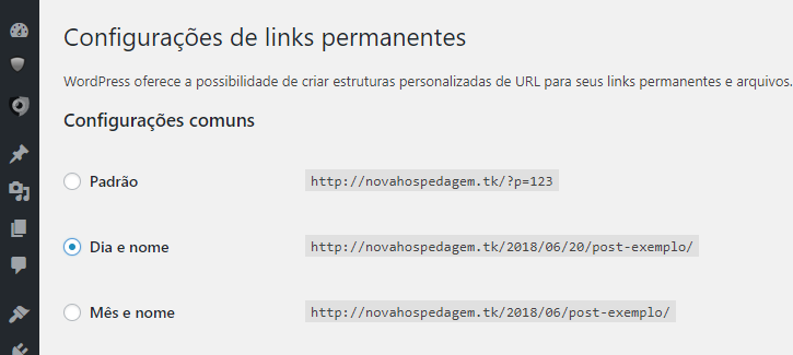 configurando links permanentes no wordpress
