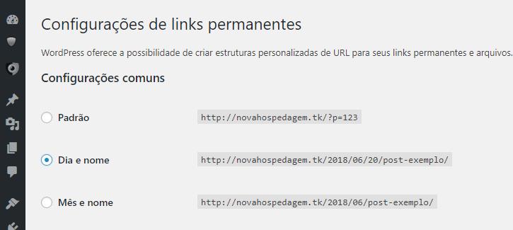 configurando links permanentes no wordpress