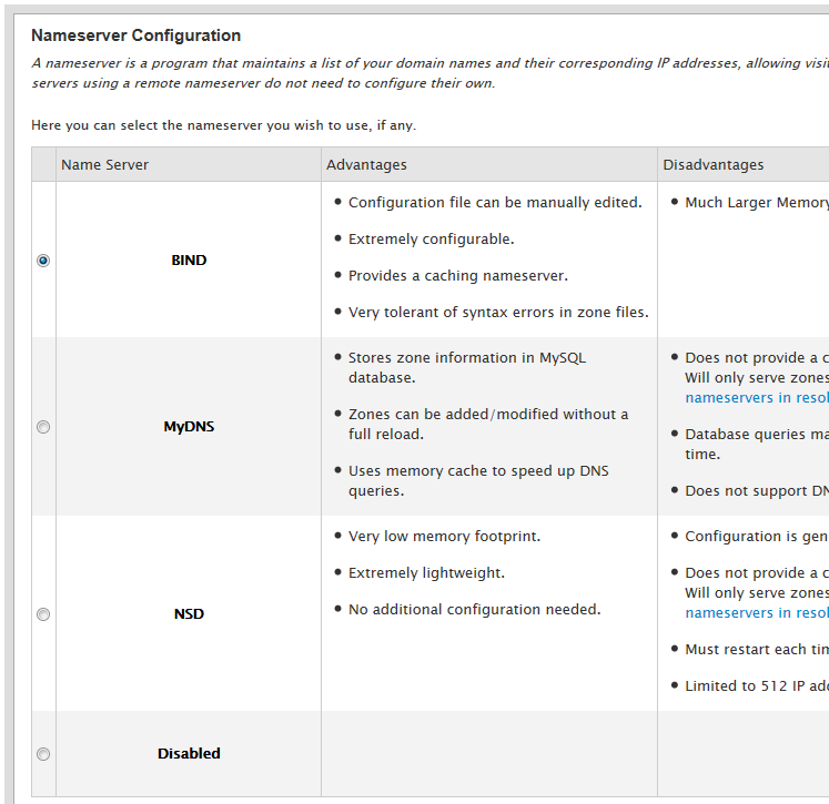 configurando os nameservers da rede do whm/cpanel