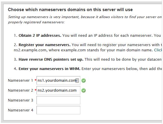 configurando nameserves da rede do painel cPanel/whm
