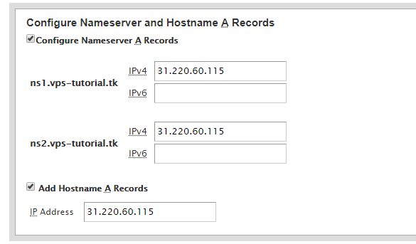 configuração dos nameservers da rede do painel cPanel/WHM
