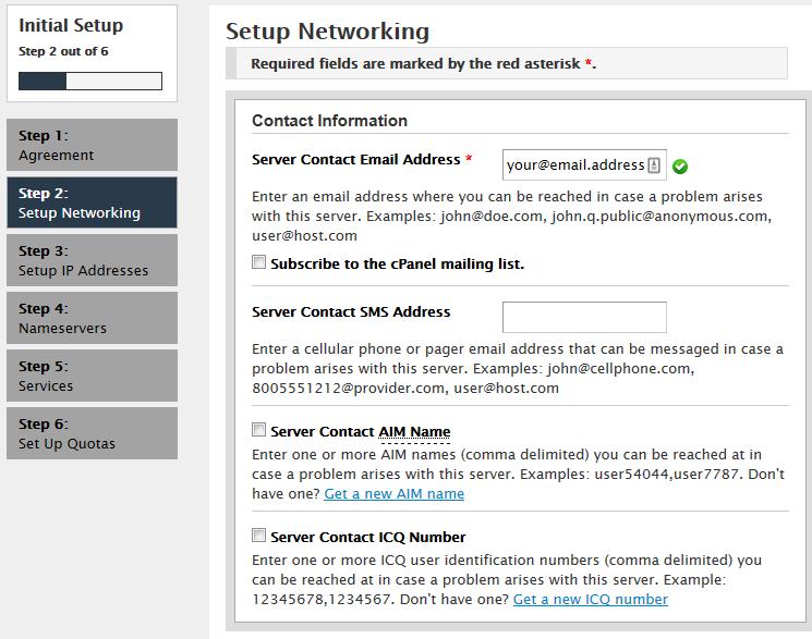 configurando a rede do servidor para usar vps com cpanel
