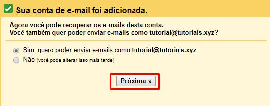 conta de email adicionada no gmail