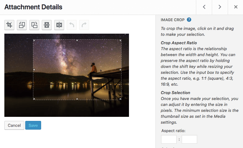 option to crop images in wordpress