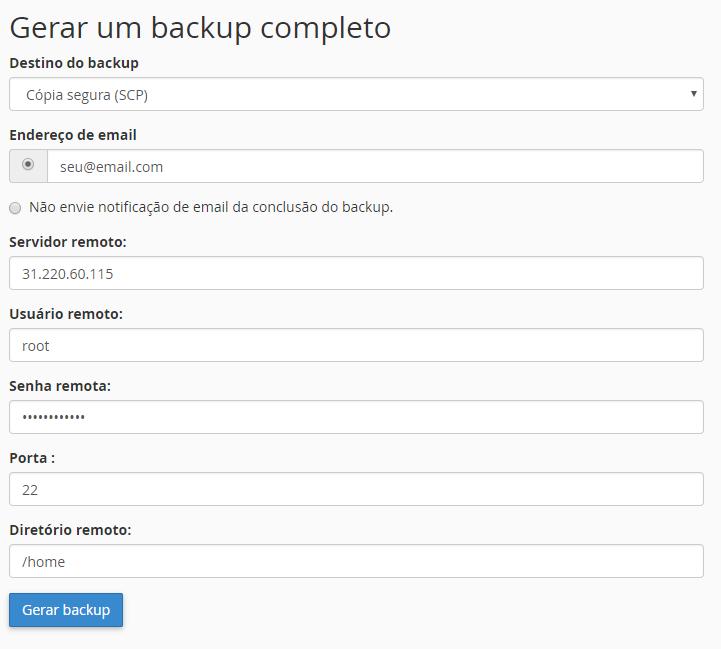 criando backup completo do cpanel para transferir para vps