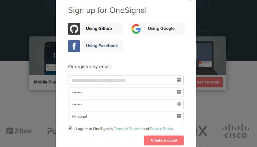 Creating account on one signal
