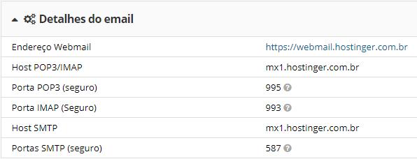 detalhes das informação de email no cpanel