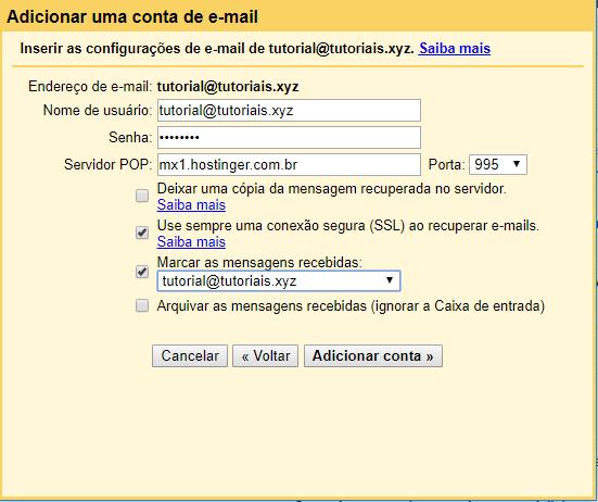detalhes de informações de conta nova no Gmail