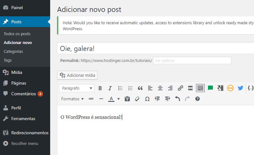 editor de conteúdo do cms wordpress