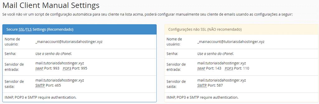 dados de email de hospedagem no cpanel