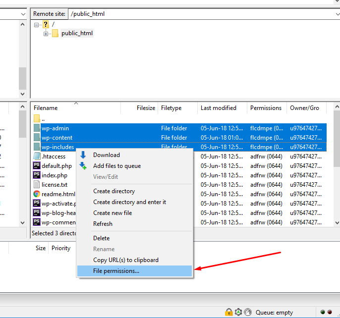 usar o cliente de ftp filezilla para reparar as permissões dos arquivos