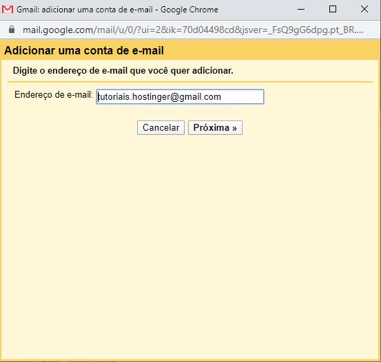 tela para adicionar nova conta no gmail