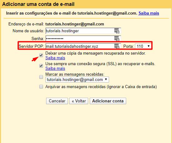 detalhes de servidor pop na configuração do gmail