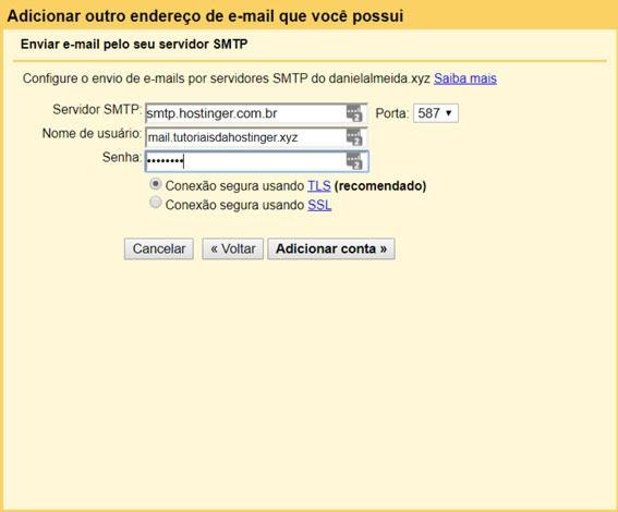informação de servidor smtp no gmail
