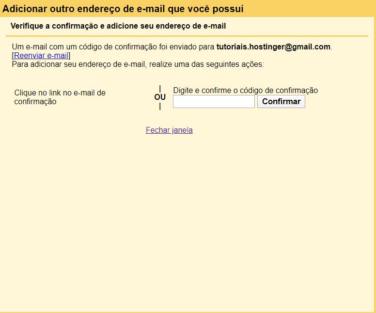 tela para inserção do código de confirmação no gmail
