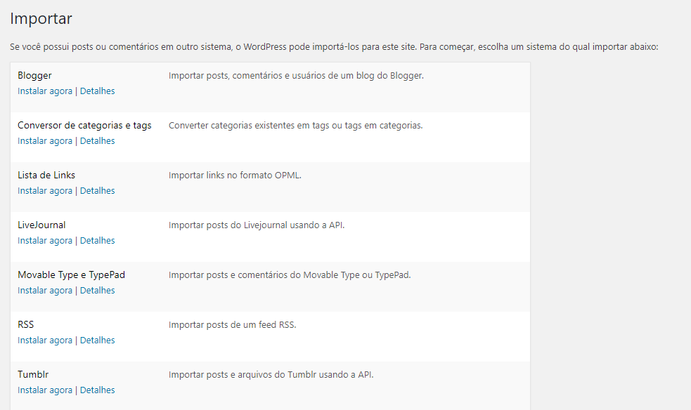 importanto o rss para o wordpress