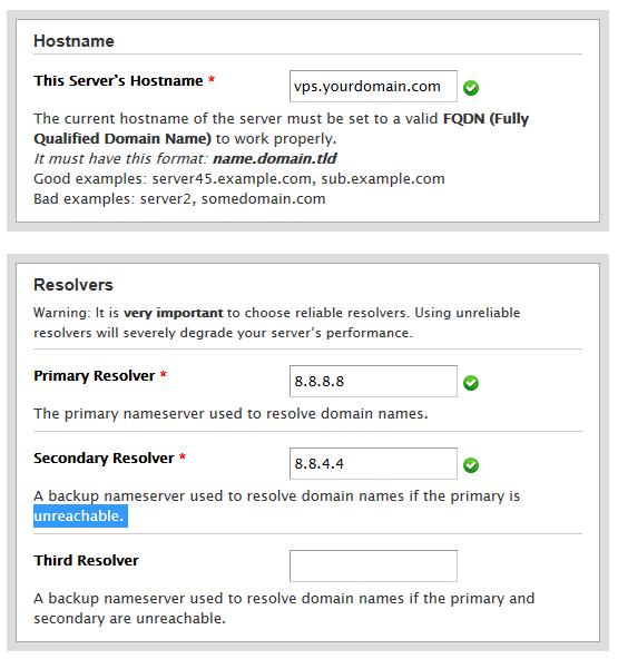 inserindo informações de DNS público do Google para configurar rede de VPS