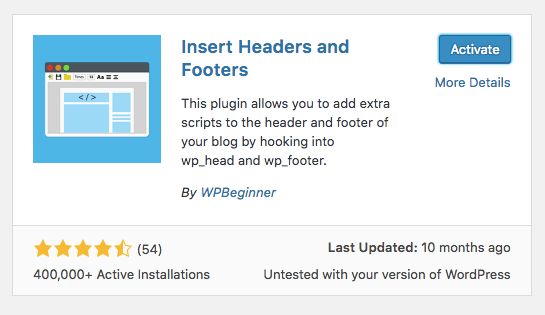 installing the plugin insert headers and footers
