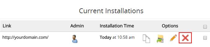 lista de instalações atuais no painel de controle pelo softaculous