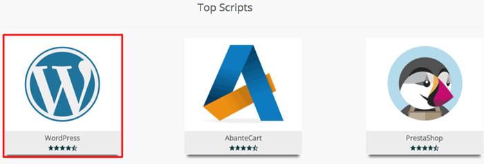 wordpress está entre os melhores scripts no softaculous no painel de controle da hospedagem