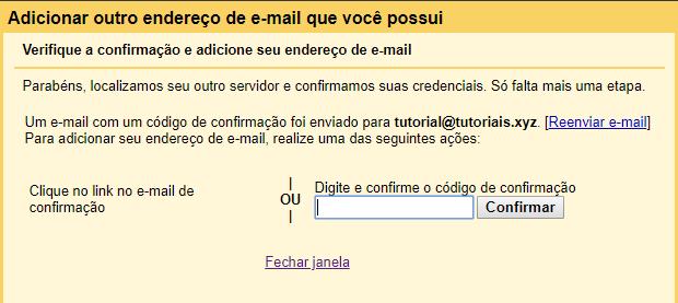 mensagem de verificação e confirmação de criação de email